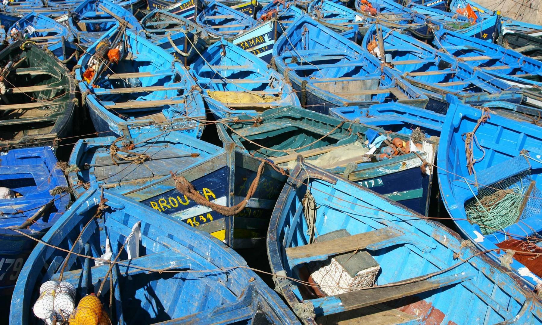 Maroc Côte Atlantique Barques de pêche à Essaouira